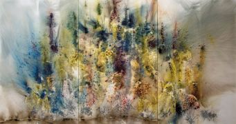 Cai Guo-Qiang (b. 1957, Quanzhou, China; Lives in New York) Mountain in Heat 2016 Gunpowder on canvas 239 x 450 cm Private Collection Photo by Yvonne Zhao, courtesy Cai Studio